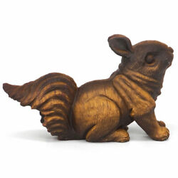 Squirrel Figurine Natural Stone Yellow Tiger Eye Carved Animal Statue Decor3.5