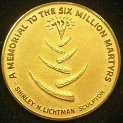 Wwii Holocaust Memorial 14k Gold Medal - Memorial To Six Million Martyrs
