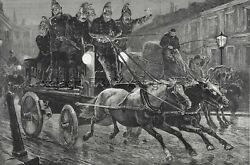 Firemen Galloping To Fire Horse-drawn Engine Huge Double 1880s Antique Print