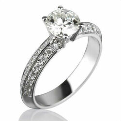Round 1.5 Carat And Accents Authentic Diamond 14k White Gold Ladies Wedding Ring