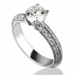 Natural 1.4 Ct Round Shaped + Accents Diamond 14k White Gold Women Proposal Ring