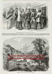 Mormon Trail Crossing Rocky Mountains, 1850s Antique Engraving Print And Article