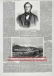 Religion Mormon Brigham Young Profile, 1860s Antique Engraving Print And Article