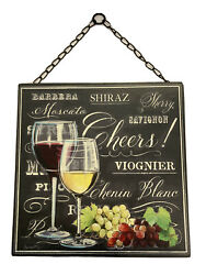 Cheers Metal Sign Kitchen Wall Hanging Decor Black Wine Grapes