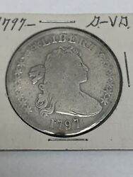 1797 Draped Bust Small Eagle Silver Dollar Coin 10 Stars Left , 6 Right