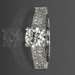 Accents Round Cut Diamond Ring Womens 2 Ct 14k White Gold Colorless Authentic
