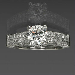 Round Cut Diamond Ring 4 Prongs Authentic 2 Ct Women Colorless 14 Kt White Gold