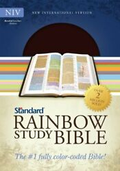 Niv Standard Rainbow Study Bible, Brown Bonded Leather By Standard Publishing Vg