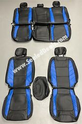 Katzkin Ford F150 Xl Xlt, Supercrew Supercab Leather Seat Covers Black And Blue