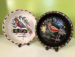 Pair Of Pennsylvania Dutch Amish Hand Painted Folk Art Toleware Plates By Howes