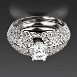 Si1 D 2.02 Ct Authentic Bands Set Diamond Ring Colorless 18k White Gold Round