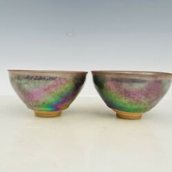 5.1old Song Dynasty Porcelain Jianzhan Pair Qicai Fambe Temmoku Speckle Tea Cup