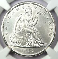 1859-s Seated Liberty Half Dollar 50c - Ngc Uncirculated Details Ms Unc - Rare
