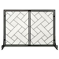 2 Panel Wrought Iron Geometric Fireplace Screen With Magnetic Doors 44 X 33