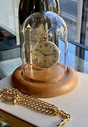 Antique Vintage 14k 585 Solid Yellow Gold Dial Mens Pocket Watch + Dome Case