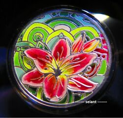 2021 500 Cfa Lilly Language Of Flowers 17.5g Silver Proof Colour Coin Unc Rare