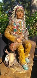 Vtg Universal Statuary Native American Indian Chief Statue Sitting Peace Pipe