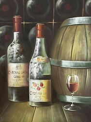 Red Wine Painting Wine Cellar Still Life Oil Painting Signed Edwards