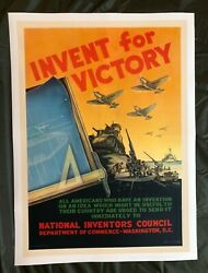 Wwii Ww2 Original War Poster Invent For Victory Us Army Navy Airforce Homefront
