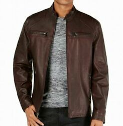 Inc Mens Burgundy Zip Up Faux Leather Jacket Big And Tall