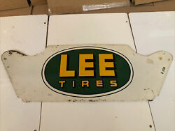 Rare Vintage Original Lee Tire Metal Display Stand Sign Gas And Oil