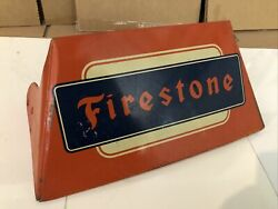 Rare Vintage Original Firestone Tire Metal Display Stand Sign Gas And Oil