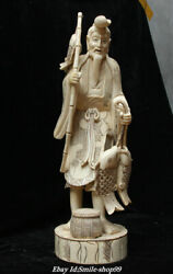 19antique Old China Cattle Bone Splicing Character People Fisherman Fish Statue
