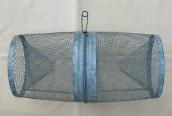 Vintage Used Two Piece Galvanized Metal Mesh Minnow Trap With Clip Closure