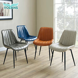 Set Of 2 Dining Chairs Pu Leather Armless Kitchen Side Chairs With Metal Legs Us