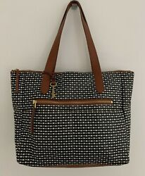 FOSSIL Tote Large Black White Brown Faux Leather Handbag Purse Double Handles