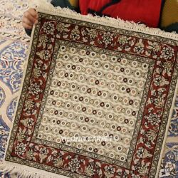 1.5#x27;x1.5#x27; 400Lines Handmade Tapestry Silk Carpet All Over Home Rug 221H