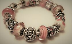 Authentic Pandora Silver Bracelet With Murano Glass Charms, Pink, Czs, Bling 7.5