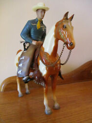 Vintage Hartland 9quot; Blue Shirt Champ Rider On Breyer #56 Pinto Horse With Saddle