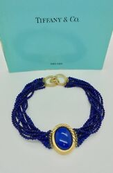 Vintage And Co. Angela Cummings Lapis Lazuli Gold Choker Necklace In Case