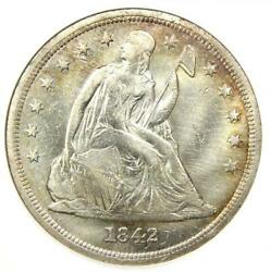 1842 Seated Liberty Silver Dollar 1 - Anacs Xf45 Details Ef45 - Rare Coin