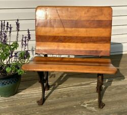 Antique Cast Iron And Wood Folding Student Desk Chair. Buffalo New York No 4