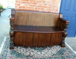American Antique Mahogany Wood R. J. Horner Style Bench With Storage