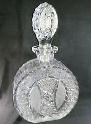 Rare Vintage Round Lead Crystal Whiskey Liquor Decanter With Stopper 10.5x6