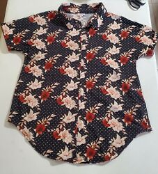 Lularoe women#x27;s Medium button up blouse black and floral roses 3 4 sleeve used. $16.95