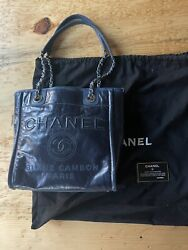 Deauville Tote Pm Navy Blue Leather Shoulder Chain Bag