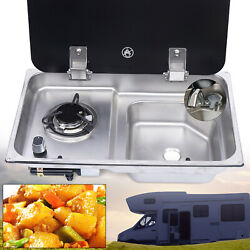 Boat Rv 1 Burner Gas Stove Stainless Sink Combo With Tempered Glass And Faucet
