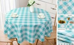 100 Waterproof Round Pvc Tablecloth Checkered Vinyl 60in Round Blue Teal
