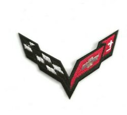 NEW 2 3 4 X 3 1 2 INCH BLACK CORVETTE FLAG LOGO IRON ON PATCH FREE SHIPPING