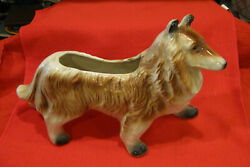 """Vintage COLLIE Dog Large CERAMIC PLANTER 12"""" Decorative from #x27;50#x27;s FREE SHIPPIN"""