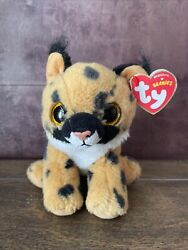 """Ty Beanie Baby LARRY Lynx Cat 6"""" NEW With Tags GLITTER eyes"""