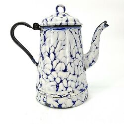 Antique Enamelware Coffee Pot With Hinged Lid Gooseneck Cobalt And White Seamless