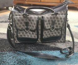 Dooney amp; Bourke Black Gray Signature Fabric Double Pocket tote ** With Sttap** $39.99