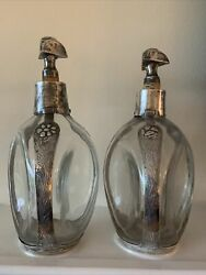 Pr Vge Sanborns Mexico Sterling Silver Overlay Pinch Bottles Decanters