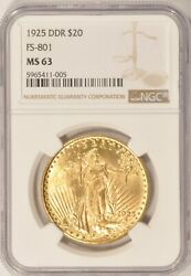 1925 Ddr Fs-801 20 Saint Gaudens Gold Double Eagle Coin Ngc Ms63