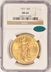 1927 20 Saint Gaudens Gold Double Eagle Coin Ngc Ms64 Cac Sticker Pre-1933 Gold